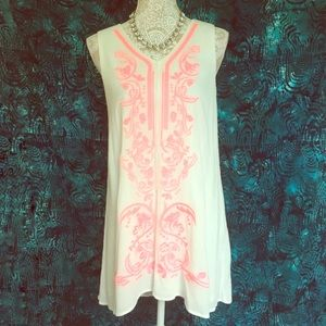 Altar'd State Neon Pink Embroidered Shift Dress